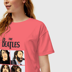 Футболка оверсайз женская The Beatles Stories цвета коралловый — фото 2