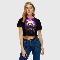 Футболка 3D укороченная женская Panda Cosmonaut цвета 3D — фото 2