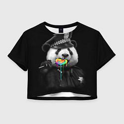 Футболка 3D укороченная женская Панда с карамелью цвета 3D — фото 1