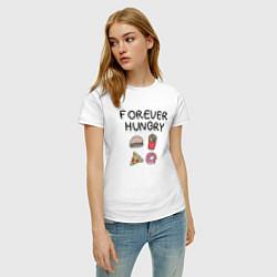 Футболка хлопковая женская Forever Hungry цвета белый — фото 2