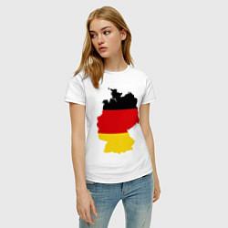 Футболка хлопковая женская Германия (Germany) цвета белый — фото 2