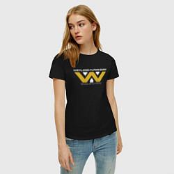 Футболка хлопковая женская Weyland-Yutani цвета черный — фото 2