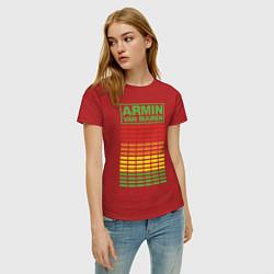Футболка хлопковая женская Armin van Buuren: EQ цвета красный — фото 2