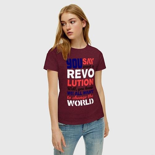Женская футболка The Beatles Revolution / Меланж-бордовый – фото 3