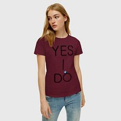 Футболка хлопковая женская Yes I Do цвета меланж-бордовый — фото 2