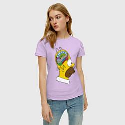 Футболка хлопковая женская Мозг Гомера цвета лаванда — фото 2