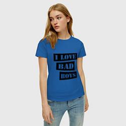 Футболка хлопковая женская I love bad boys цвета синий — фото 2