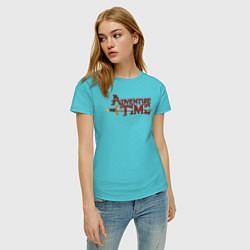 Футболка хлопковая женская Adventure time цвета бирюзовый — фото 2