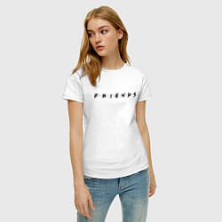 Футболка хлопковая женская Logo Friends цвета белый — фото 2