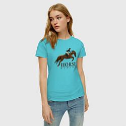 Футболка хлопковая женская HORSE RIDING цвета бирюзовый — фото 2