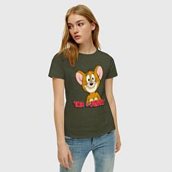 Футболка хлопковая женская Tom & Jerry цвета меланж-хаки — фото 2