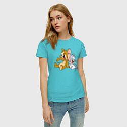 Футболка хлопковая женская Jerry & Tuffy цвета бирюзовый — фото 2