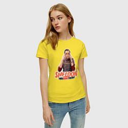 Футболка хлопковая женская Sheldon цвета желтый — фото 2