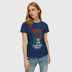 Футболка хлопковая женская Каждая роза имеет шипы цвета тёмно-синий — фото 2
