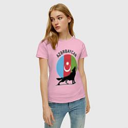 Футболка хлопковая женская Азербайджан цвета светло-розовый — фото 2