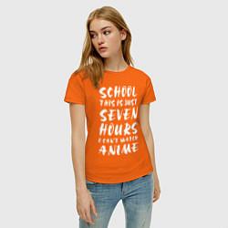 Футболка хлопковая женская School this is цвета оранжевый — фото 2