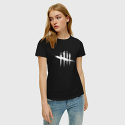 Футболка хлопковая женская Dead by Daylight White Logo цвета черный — фото 2